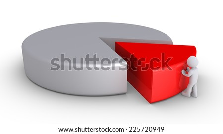 3d person is pushing a piece of a pie chart