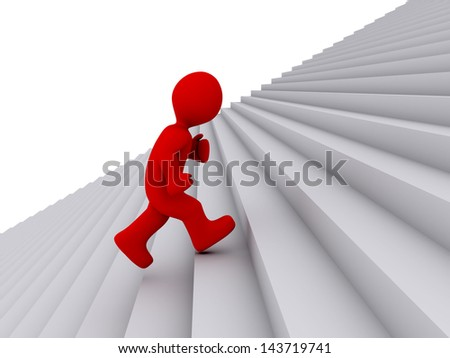 3d person is running on stairs upwards - stock photo