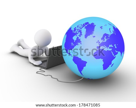 3d person is using a laptop and the globe is connected to it - stock photo