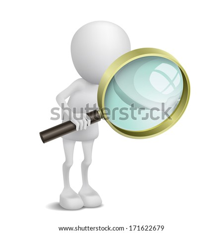 3d person is using the magnifying glass - stock photo