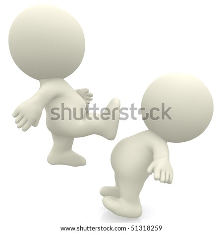 3D person kicking another isolated over a white background
