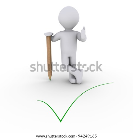 3d person leaning on a pencil behind a green check mark - stock photo