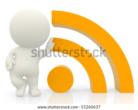 3D person leaning on a RSS sign isolated over a white background - stock photo