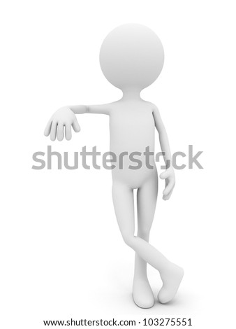 3d person leaning over white background