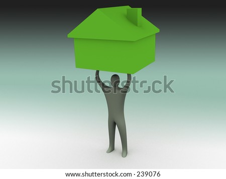 3d person lifting a house. - stock photo