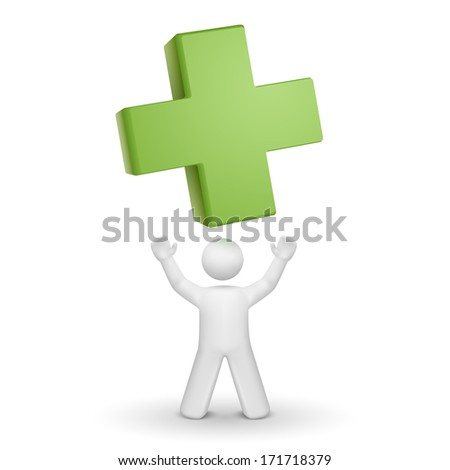 3d person looking up at a green cross isolated white background - stock photo