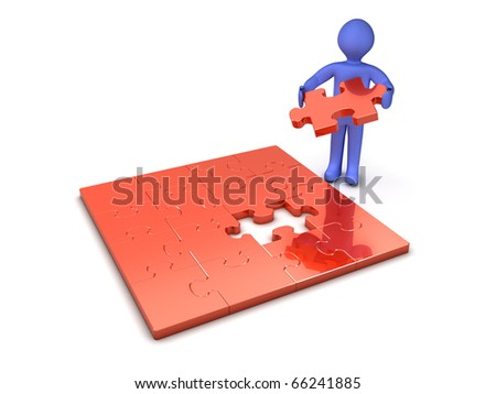 3d person making a puzzle - stock photo