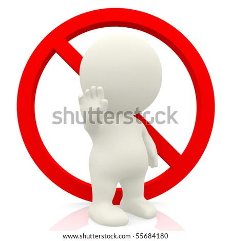 3D person making a stop sign with the hand - isolated over a white background - stock photo