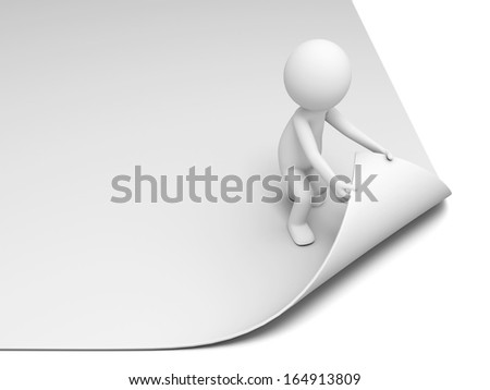 3d person, man, people turning the page or paper - stock photo