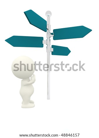 3D person next to a direction sign wondering which way to go - stock photo
