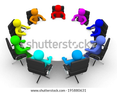 3d person of different colors at the conference table - 3d render illustration  - stock photo