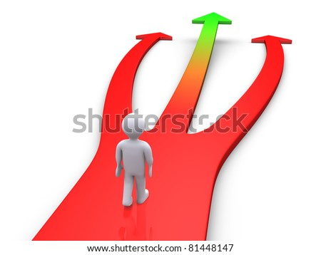 3d person on a three-way road with one way going up - stock photo
