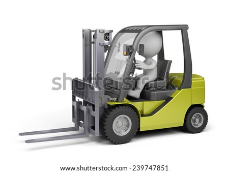 3D person on the forklift truck. 3d image. White background. - stock photo