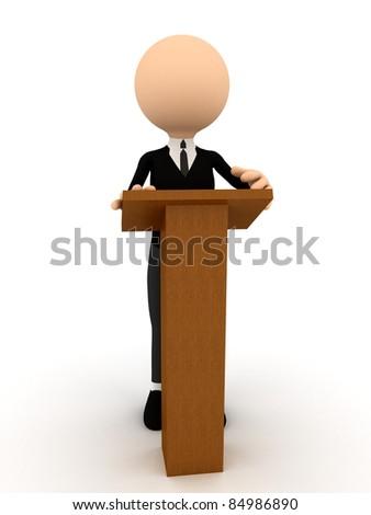 3d person on tribune over white - stock photo