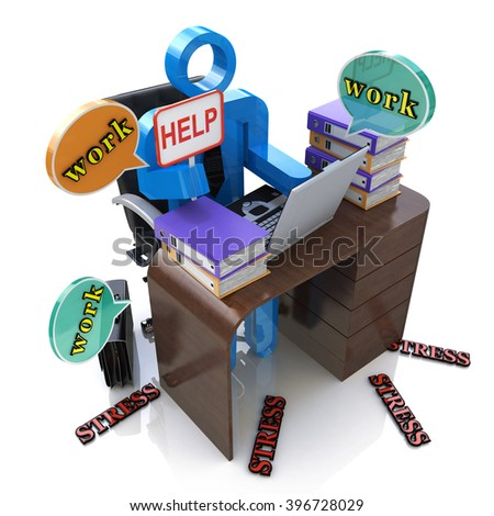 3d person overworked. Stress in the office - 3D rendered illustration - stock photo