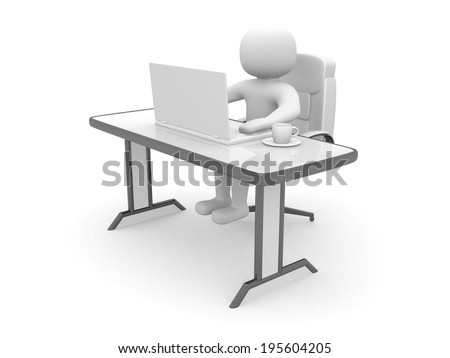 3d person. People to an office and a laptop. 3d render illustrator