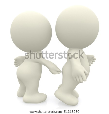 3D person pinching another in the bum isolated over a white background