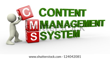 3d person placing cms content management system cubes. 3d human people character illustration - stock photo