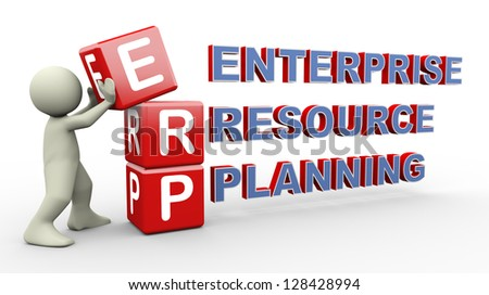 3d person placing erp - enterprise resource planning cubes. 3d human people character illustration