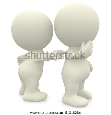 3D person poking another isolated over a white background