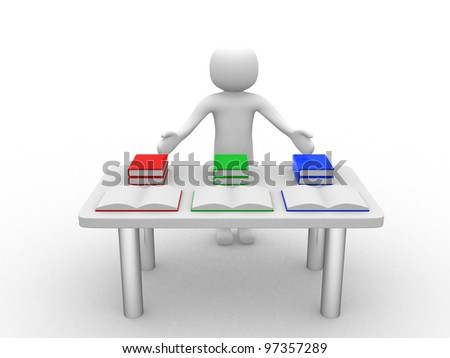 3d person presents books on table - 3d render illustration - stock photo