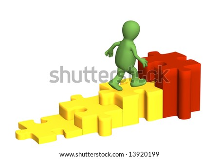 3d person  puppet, rising under diagram. Object over white - stock photo