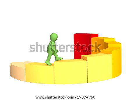 3d person - puppet, rising under the yellow diagram - stock photo