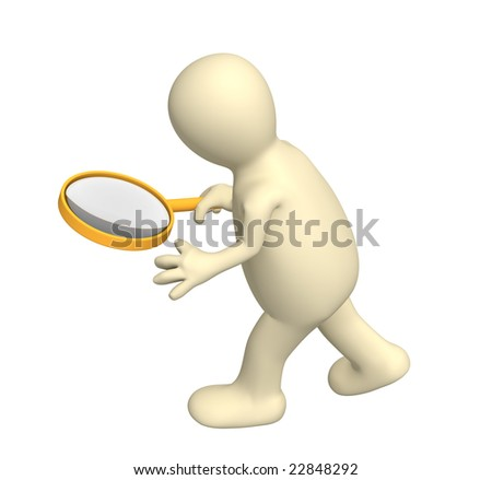 3d person puppet with the big magnifier - stock photo