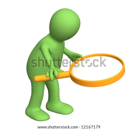 3d person puppet with the big magnifier. Object over white - stock photo
