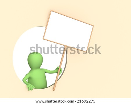3d person - puppet with the blank poster - stock photo