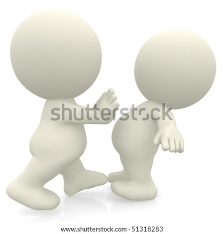 3D person pushing another isolated over a white background