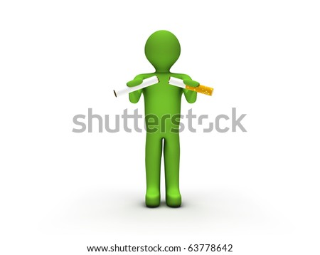 3D Person Quitting Smoking - stock photo