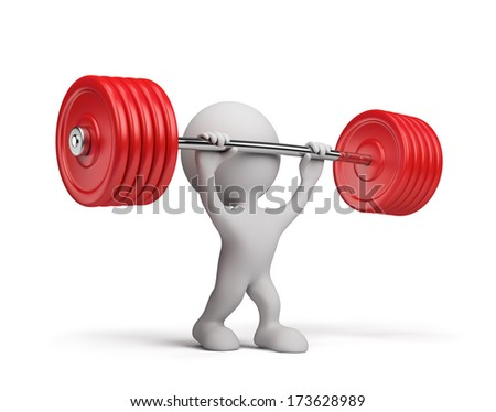 3d person raises the barbell. 3d image. White background. - stock photo