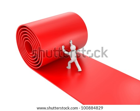 3d person rolling red carpet on white background. Image contain clipping path