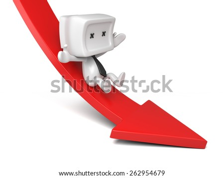 3d person rolls down the red arrow. 3d image. Isolated white background. - stock photo