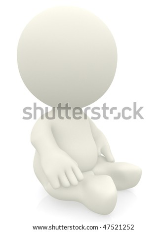 3D person sitting on the floor isolated over a white background