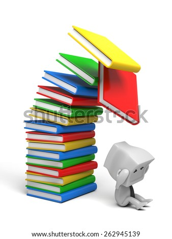 3d person sitting under Stacks of Books. 3d image. Isolated white background. - stock photo