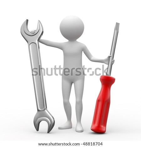 3D person, spanner and screwdriver on white background.