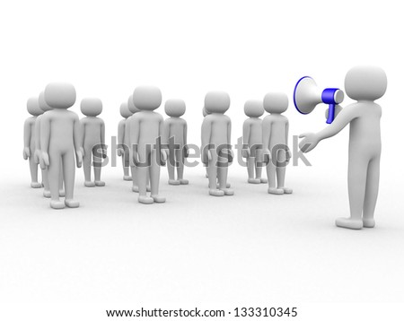 3d person speaking at megaphone in front of the crowd. This is a 3d render illustration