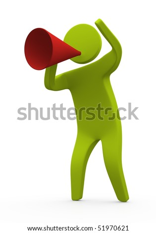 3d Person speaking out loud using megaphone - stock photo