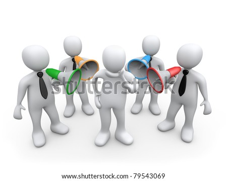 3d person standing between people with bullhorns pointed at him. - stock photo