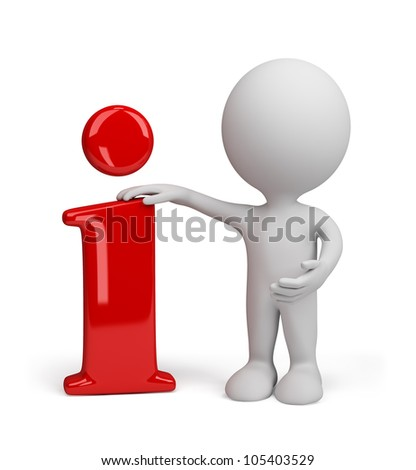 3d person standing near to an information icon. 3d image. Isolated white background. - stock photo