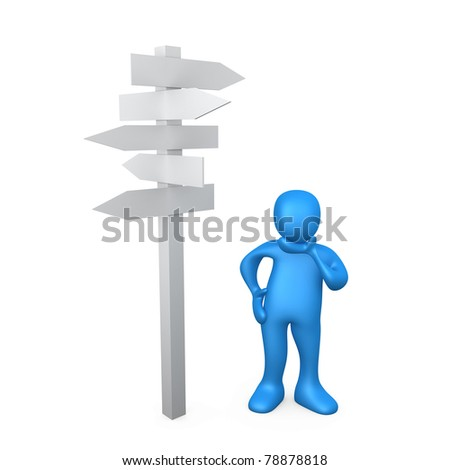 3d person standing next to multiple arrow signs, wondering.