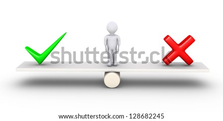 3d person standing on a seesaw between a check mark and a cross - stock photo