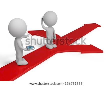3D person standing on red arrows with compass. 3d image. White background.