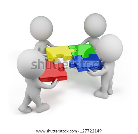 3d person - team with colored puzzles. 3d image. White background.