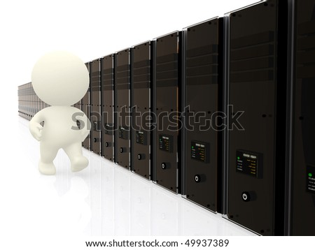 3D person walking along servers isolated over a white background - stock photo