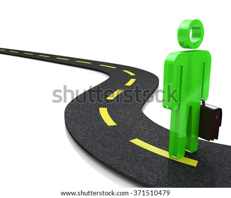 3d person walks on the chosen path. 3d image. White background in the design of information related to the choice of paths - stock photo