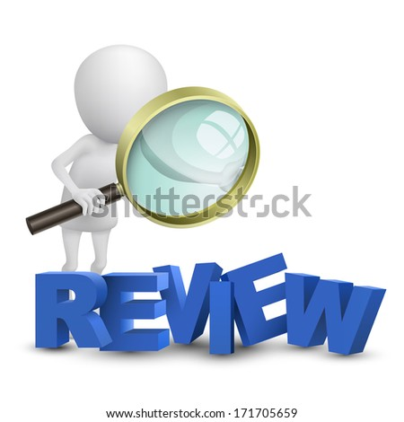"""3d person watching a word """"review"""" with a magnifying glass - stock photo"""