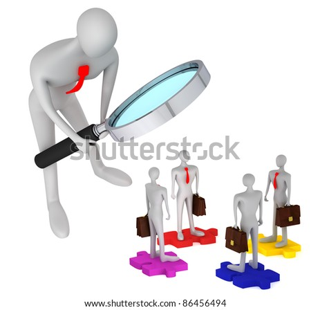 3d person watching how 3d persons with briefcases standing on the puzzles / 3d icon of the teamwork - stock photo